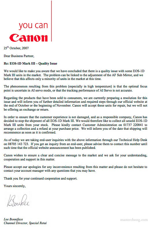 Letter from Canon to their business partner