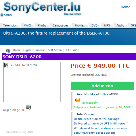 Sony A200 on Sony France Website